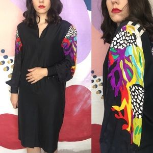 VINTAGE 80s Rainbow Abstract Printed Black Dress
